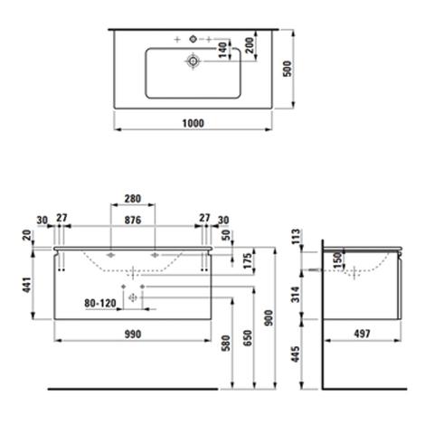 Мебель для ванной  Laufen Pro S 100x50 8.6096.6.463.104.1 схема