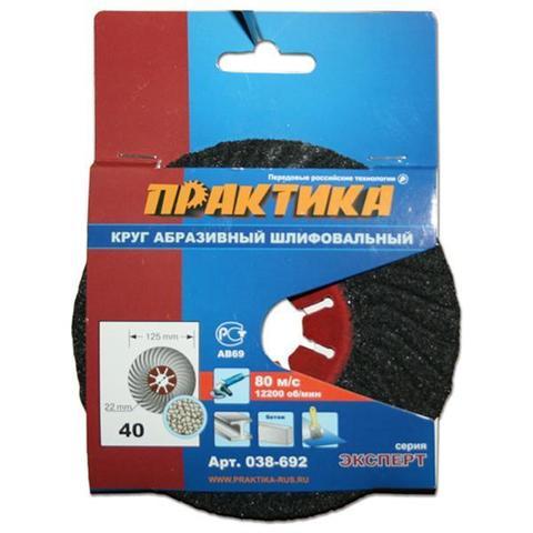 Круг абразивный торцевой ПРАКТИКА 125 х 22 мм Р 40 (1 шт)  картонный подвес (038-692)