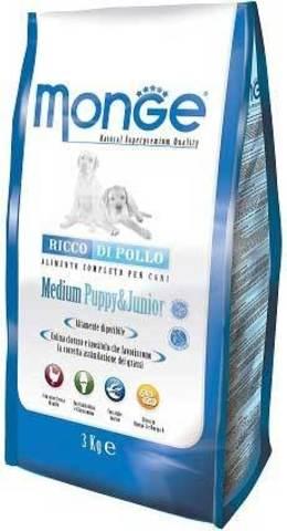 15 кг. MONGE Сухой корм для щенков средних пород с курицей Dog Medium Puppy&Junior