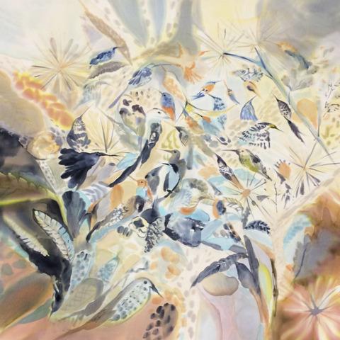 Шелковый платок батик Трели C-60