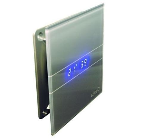 Накладной вентилятор Cata E 100 GSTH Silver (Влажность, таймер, термометр, дисплей) + обратный клапан