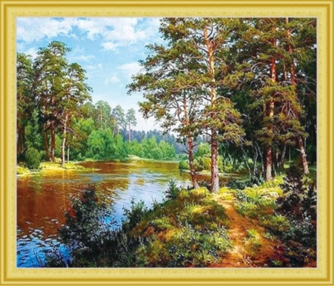 Алмазная Мозаика 50x65 Прогулка вдоль реки