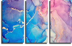 "Модульная картина ""Абстрактный разноцветный фактурный мрамор"""