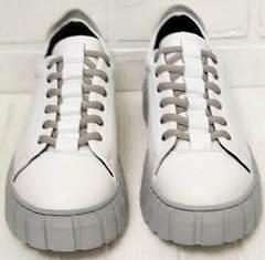 Белые женские кеды кроссовки с высокой подошвой Guero G146 508 04 White Gray.