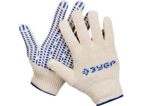 ЗУБР ТОЧКА+, размер L-XL, перчатки с точками увеличенного размера, х/б 13 класс, с ПВХ-гель покрытием (точка)