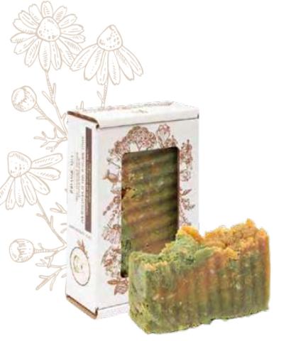 Мыло антибактериальное «Календула и тысячелистник». Сварено из растительных масел горячим способом, 110 ± 10 г