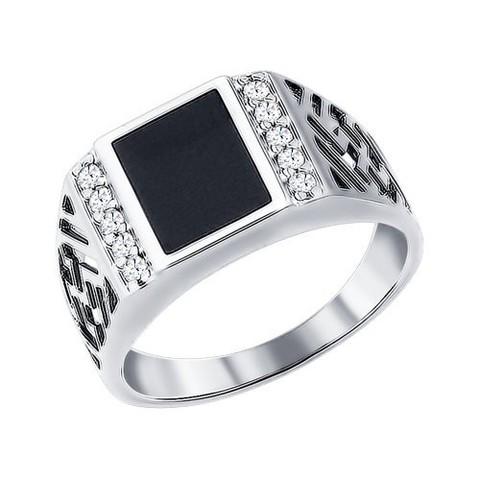 94010713 - Печатка из серебра с эмалью с фианитами