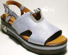 Сандали на платформе - голубые босоножки. Кожаные сандали босоножки женские Marani Magli - Blue.