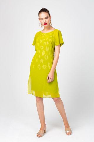 Фото яркое желтое платье из вискозы с разрезами по бокам - Платье З354-317 (1)