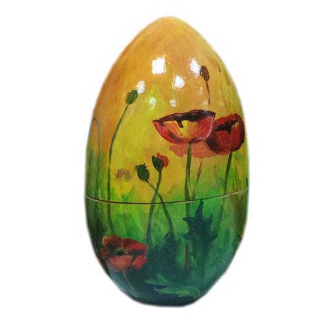 Яйцо-шкатулка пасхальное Маки