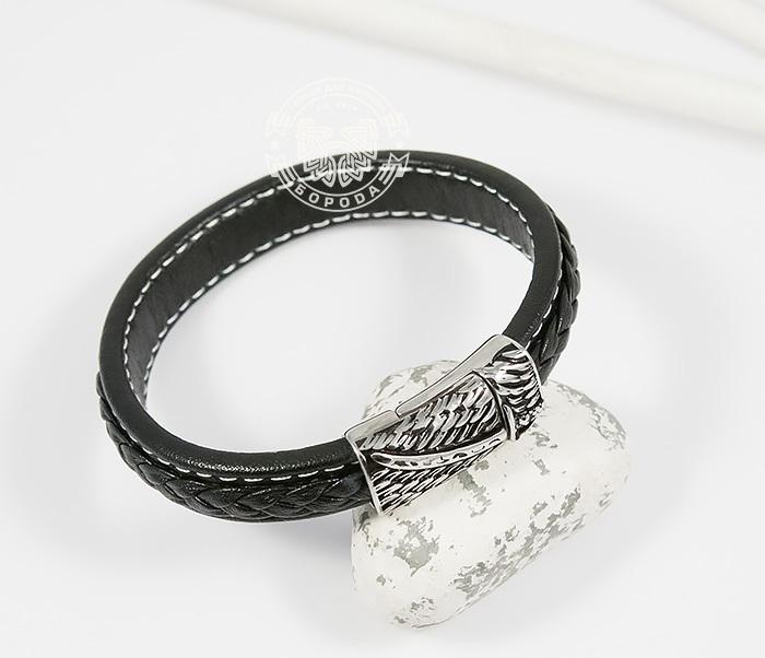 BM399 Стильный мужской браслет из кожи черного цвета и стали (21,5 см)