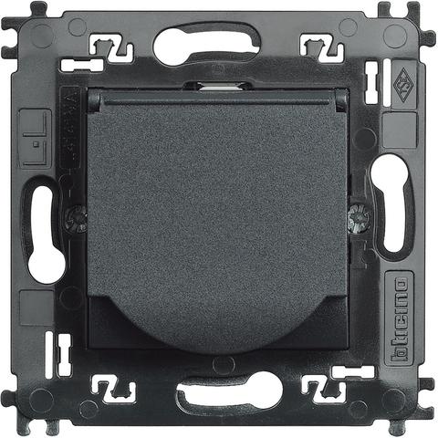 Розетка 10/16 А 250 В заземляющими контактами Schuko, с защитной крышкой с автоматическими клеммами с суппортом, LivingLight 2 модуля. Цвет Антрацит. Bticino Livinglight. L4141MAP