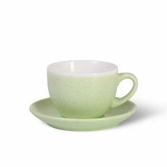 6065 FISSMAN Чашка 330мл с блюдцем, цвет Зеленый (керамика)