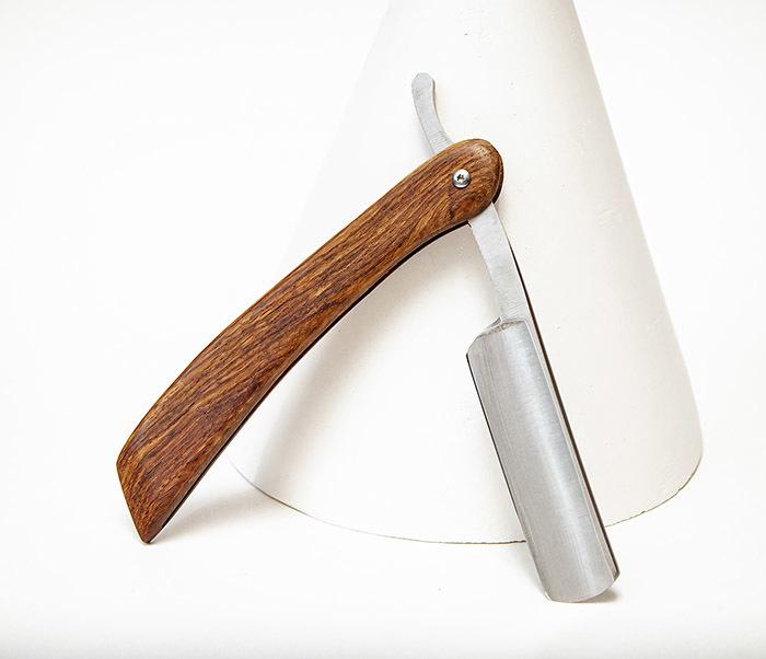RAZ541-1 Классическая опасная бритва с рукояткой из дерева фото 03