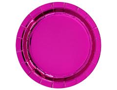 Тарелки фольгированные, Ярко-Розовый (Фуксия), 23 см, 6 шт, 1 уп.