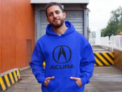 Мужская толстовка синяя с капюшоном (худи, кенгуру) и принтом Акура (Acura) 002