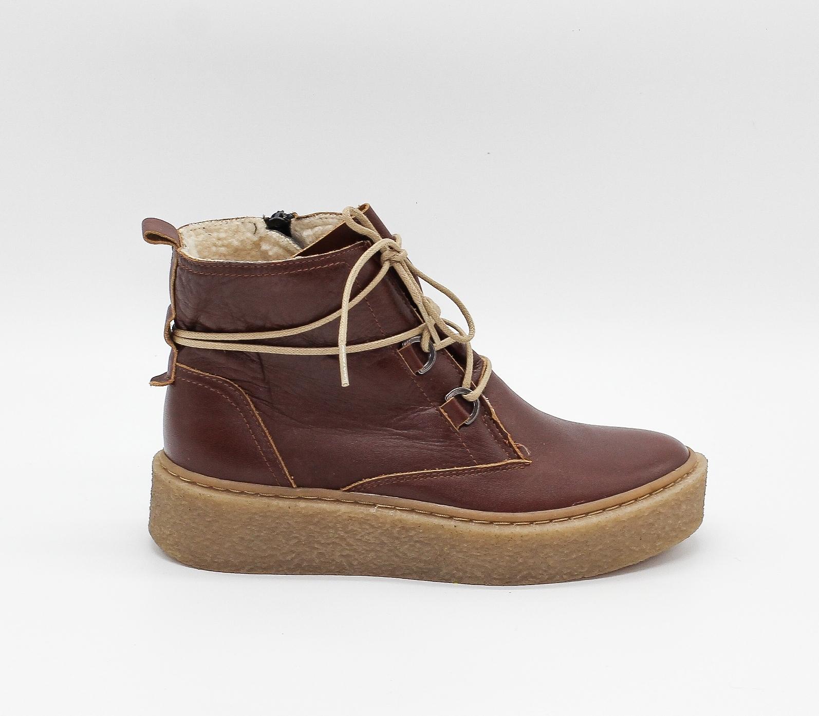 Коричневые ботинки из натуральной кожи на платформе