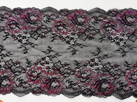 Эластичное кружево, черное и малиновые цветы, 21см (Артикул: EK-2120), м