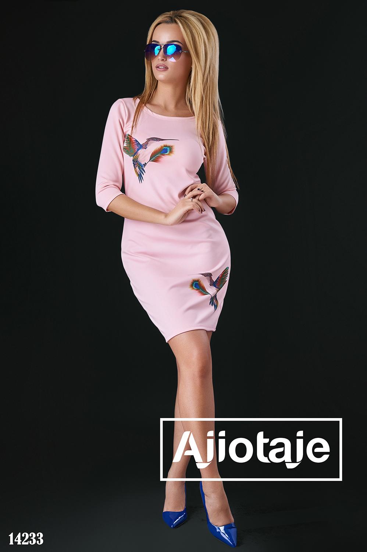 Весеннее платье персикового с колибри
