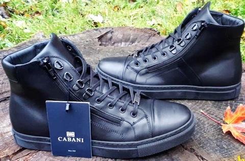 Кожаные кеды ботинки высокие на шнуровке. Термоботинки мужские зимнии ботинки Cabani BlackLeather.