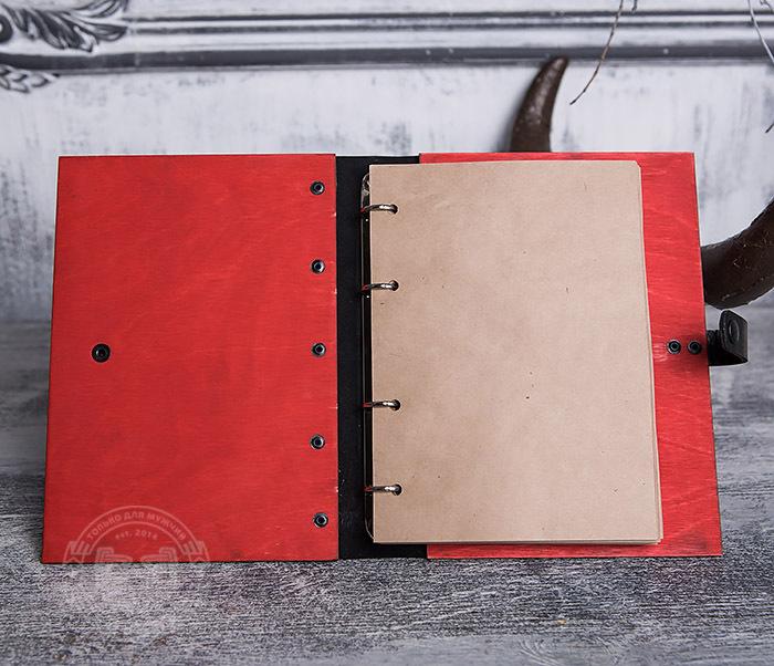 BC126-4 Яркий деревянный блокнот красного цвета, ручная работа фото 04