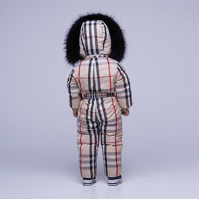 Детский зимний комбинезон с принтом «Бербери» и опушкой из натурального меха