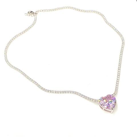 51640 - Колье из серебра с подвеской из розового кварца огранки сердце