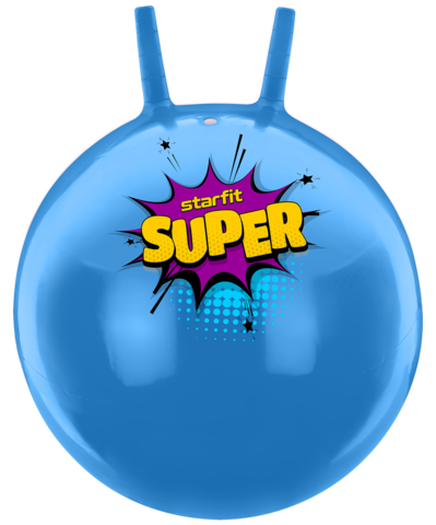 Мяч-попрыгун GB-0401, SUPER, 45 см, 500 гр, с рожками, голубой, антивзрыв