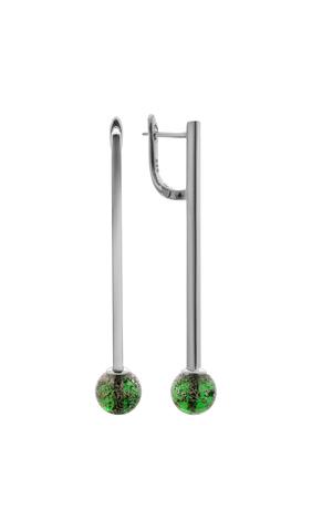 Серьги Bottega Murano серебристо-зелёные Letitia 030OB