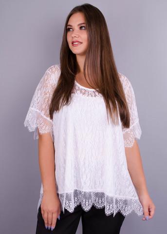 Квітка. Гіпюрова блуза великих розмірів. Білий.