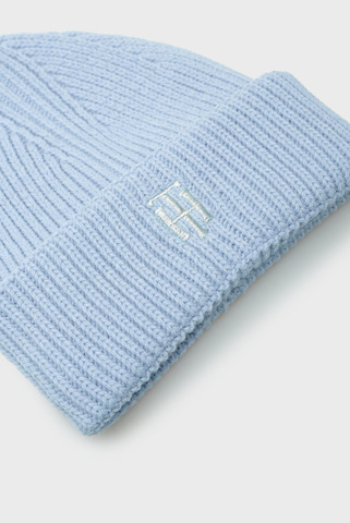 Женская голубая шапка TH Tommy Hilfiger