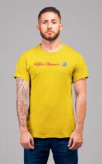 Мужская футболка с принтом Альфа Ромео (Alfa Romeo) желтая 002