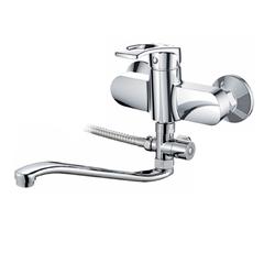 Смеситель для ванны Raiber Draygott R9602 однорычажный с лейкой и шлангом, настенное крепление, латунь