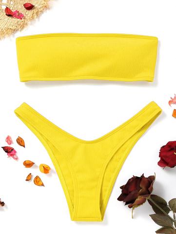 купальник раздельный бандо желтый в рубчик на шнуровке сзади 1