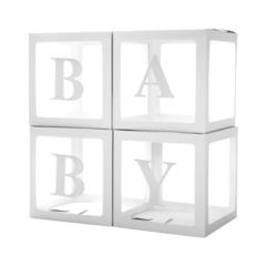Набор коробок для воздушных шаров Baby, Белые грани, Прозрачный, 30*30*30 см, 4 шт./уп.