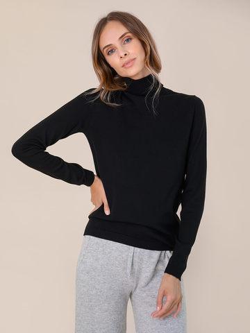 Женский свитер черного цвета из шерсти и шелка - фото 2