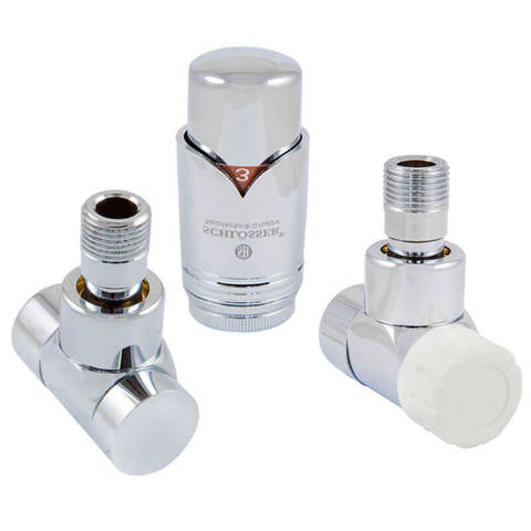 Комплект Lux термостатический Хром Форма угловая. Для стали GZ 1/2 x GW 1/2