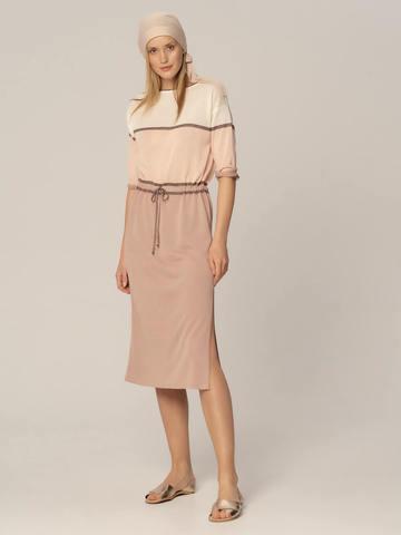 Женское платье бежевого-розового цвета из вискозы - фото 2
