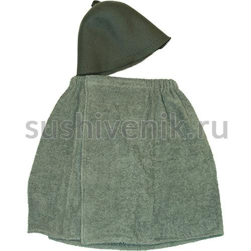 Комплект для бани мужской (серый)