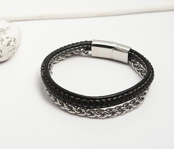 BM421 Оригинальный браслет из кожи и стальной цепочки (20,5 см) фото 03