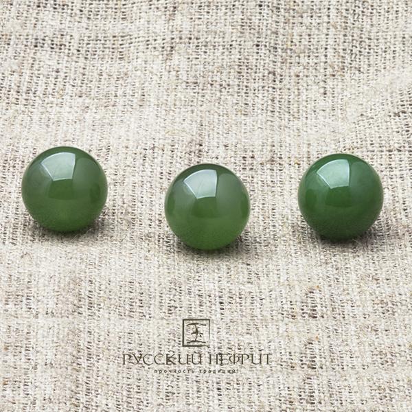 Вставки Шарик 13мм. Нефрит  зелёный (класс бриле). businy_zel_13.jpg