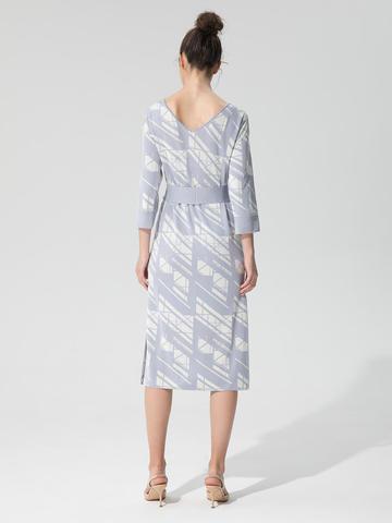 Женское платье светло-серого цвета из шелка и вискозы - фото 3