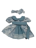 Платье хлопковое кружево принт - Деним. Одежда для кукол, пупсов и мягких игрушек.