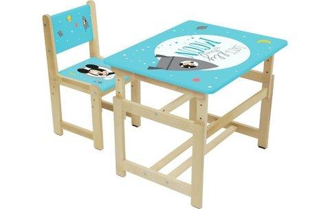 Комплект растущей детской мебели Polini Kids Disney baby 400 SM, Микки Маус, 68х55, синий-натуральны