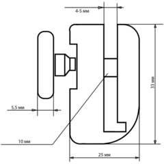 Размеры ролик для душевой кабины B-43-C 23 мм (рис.5)
