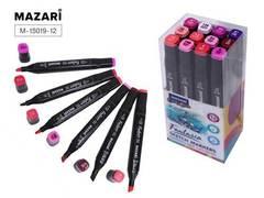 Mazari Fantasia набор маркеров для скетчинга 12 шт двусторонние спиртовые пуля/долото 3.0-6.2 мм (ягодные)