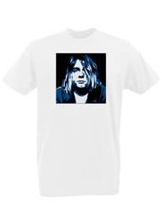 Футболка с принтом Курт Кобейн, Нирвана (Nirvana, Kurt Cobain) белая 0002