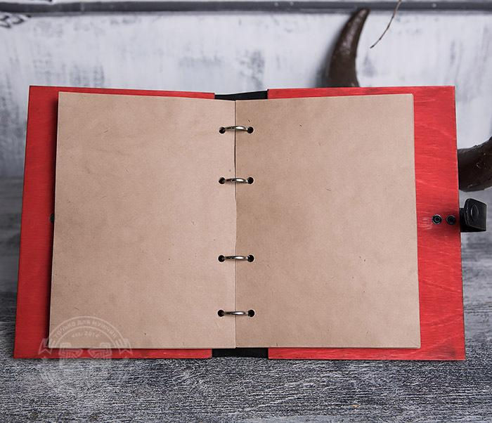 BC126-4 Яркий деревянный блокнот красного цвета, ручная работа фото 05