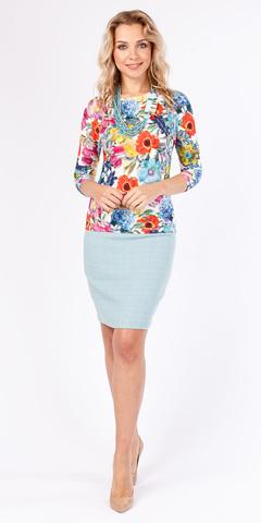Фото разноцветный джемпер с цельнокроеным рукавом 3/4 и цветочным дизайном - Джемпер В497-259 (1)