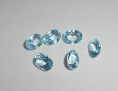 Небесно-голубой топаз 7 x 5 мм овал